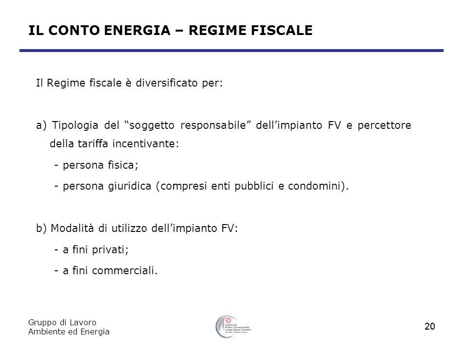 Gruppo di Lavoro Ambiente ed Energia 20 Il Regime fiscale è diversificato per: a) Tipologia del soggetto responsabile dellimpianto FV e percettore del