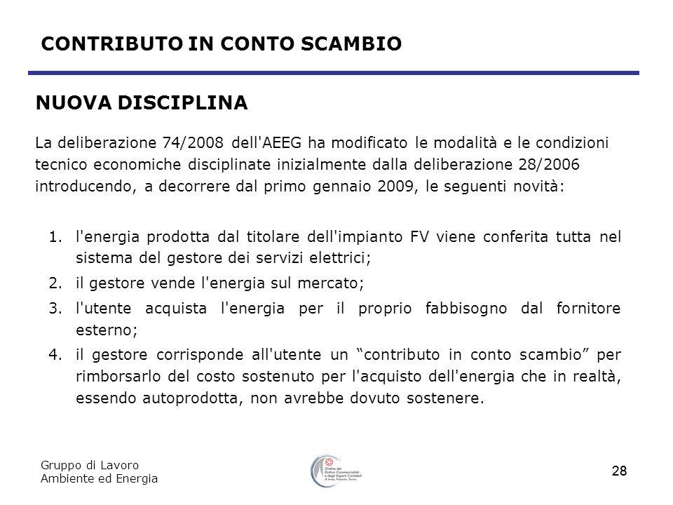 Gruppo di Lavoro Ambiente ed Energia 28 NUOVA DISCIPLINA La deliberazione 74/2008 dell'AEEG ha modificato le modalità e le condizioni tecnico economic