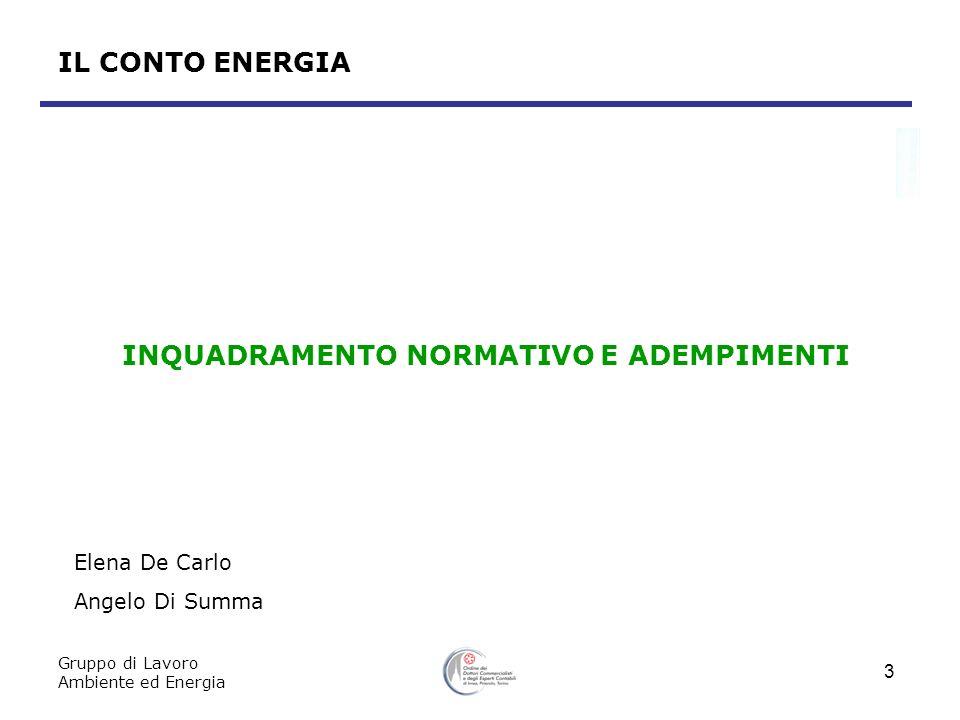 Gruppo di Lavoro Ambiente ed Energia 3 IL CONTO ENERGIA INQUADRAMENTO NORMATIVO E ADEMPIMENTI Elena De Carlo Angelo Di Summa