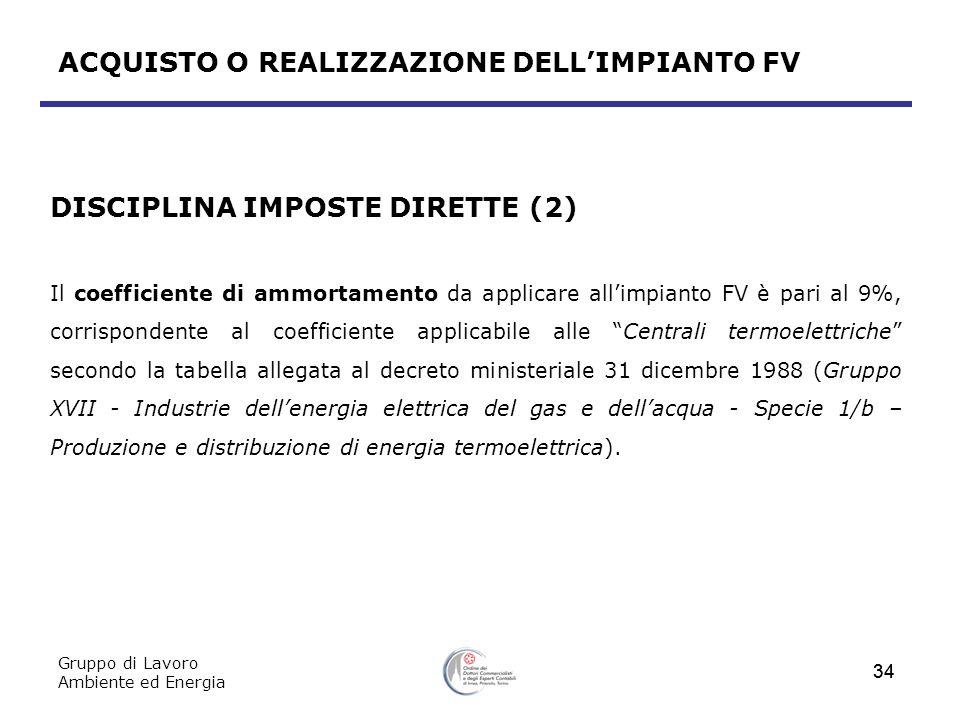 Gruppo di Lavoro Ambiente ed Energia 34 ACQUISTO O REALIZZAZIONE DELLIMPIANTO FV DISCIPLINA IMPOSTE DIRETTE (2) Il coefficiente di ammortamento da app
