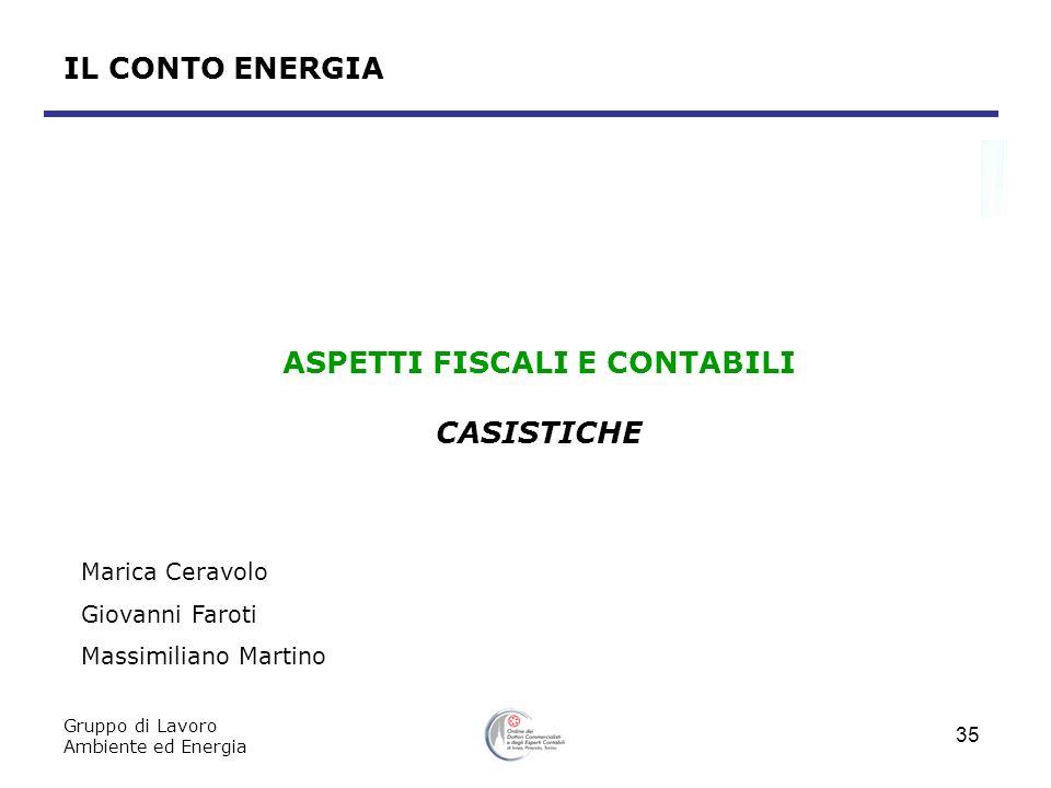 Gruppo di Lavoro Ambiente ed Energia 35 IL CONTO ENERGIA ASPETTI FISCALI E CONTABILI CASISTICHE Marica Ceravolo Giovanni Faroti Massimiliano Martino