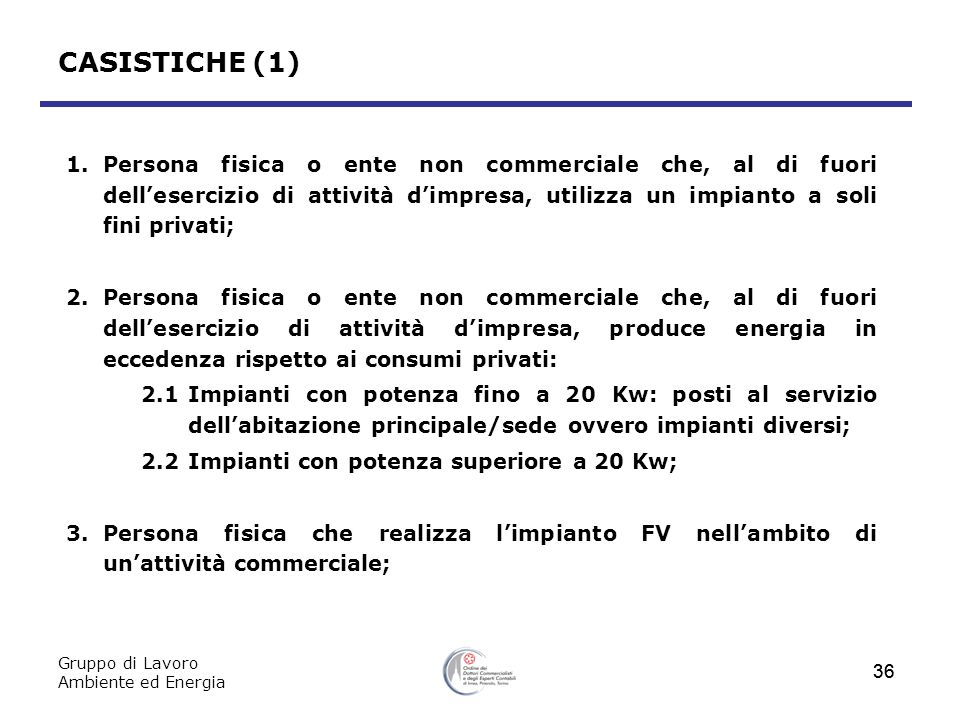 Gruppo di Lavoro Ambiente ed Energia 36 CASISTICHE (1) 1.Persona fisica o ente non commerciale che, al di fuori dellesercizio di attività dimpresa, ut