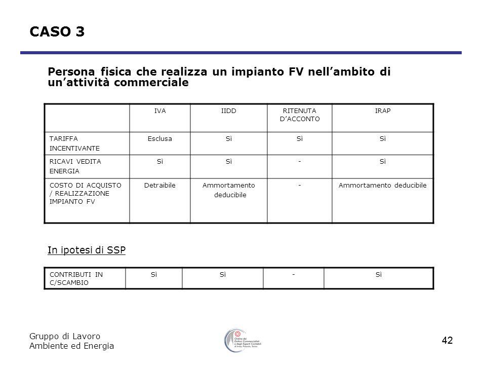 Gruppo di Lavoro Ambiente ed Energia 42 CASO 3 Persona fisica che realizza un impianto FV nellambito di unattività commerciale In ipotesi di SSP IVAII