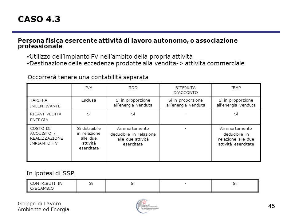 Gruppo di Lavoro Ambiente ed Energia 45 CASO 4.3 Persona fisica esercente attività di lavoro autonomo, o associazione professionale Utilizzo dellimpia
