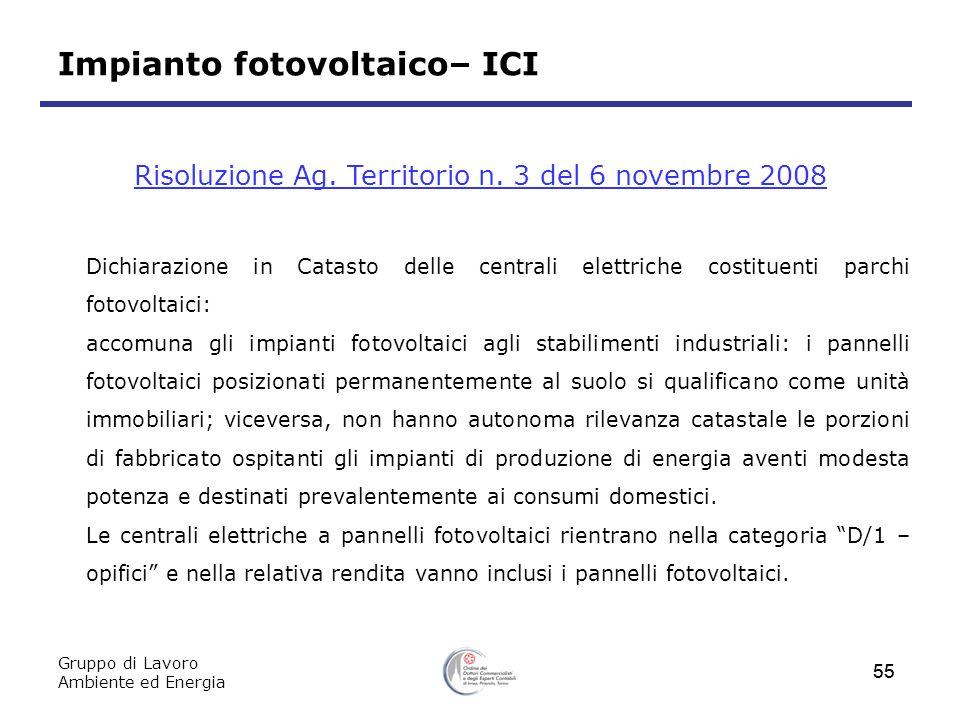 Gruppo di Lavoro Ambiente ed Energia 55 Impianto fotovoltaico– ICI Risoluzione Ag. Territorio n. 3 del 6 novembre 2008 Dichiarazione in Catasto delle