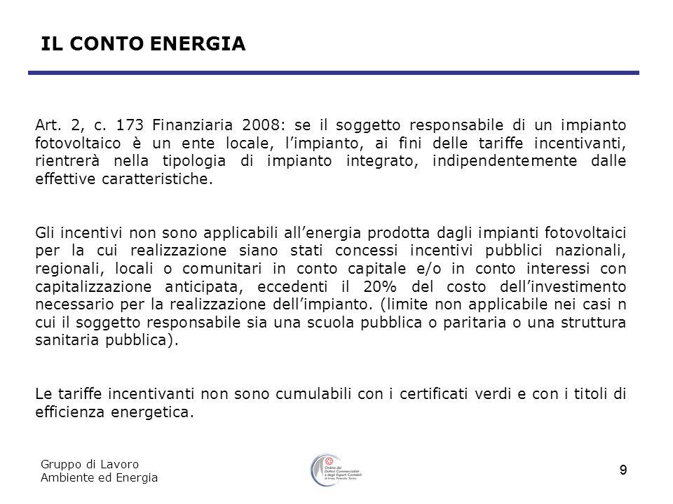 Gruppo di Lavoro Ambiente ed Energia 9 9 Art. 2, c. 173 Finanziaria 2008: se il soggetto responsabile di un impianto fotovoltaico è un ente locale, li