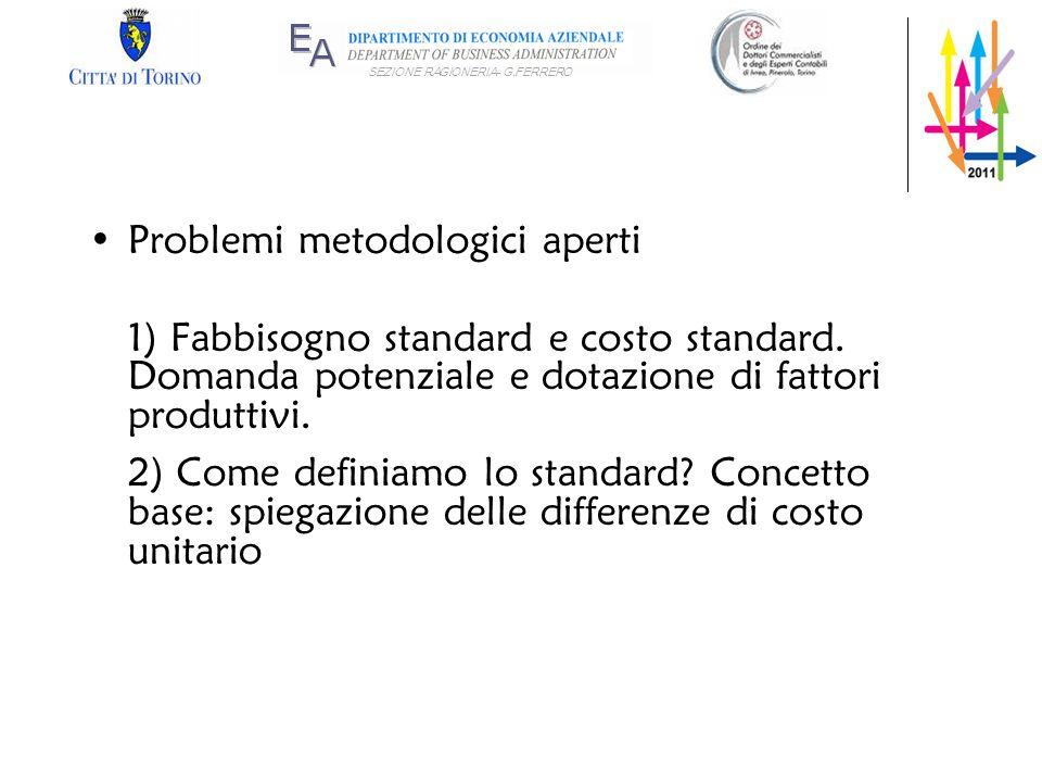 SEZIONE RAGIONERIA- G.FERRERO Problemi metodologici aperti 1) Fabbisogno standard e costo standard. Domanda potenziale e dotazione di fattori produtti