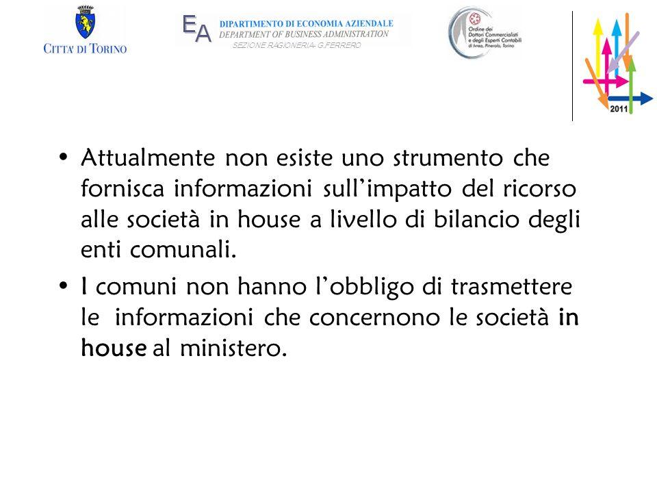SEZIONE RAGIONERIA- G.FERRERO Attualmente non esiste uno strumento che fornisca informazioni sullimpatto del ricorso alle società in house a livello d