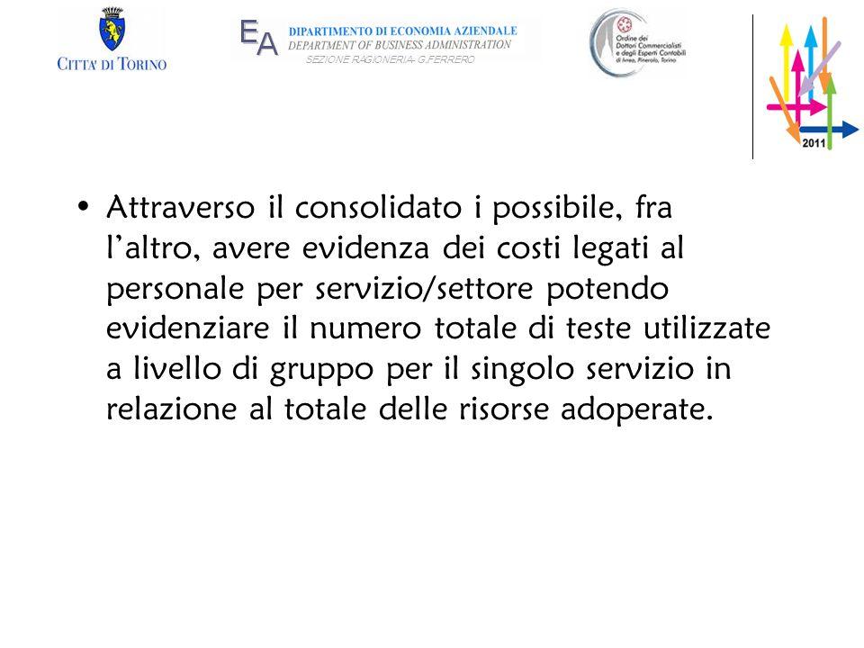 SEZIONE RAGIONERIA- G.FERRERO Attraverso il consolidato i possibile, fra laltro, avere evidenza dei costi legati al personale per servizio/settore pot