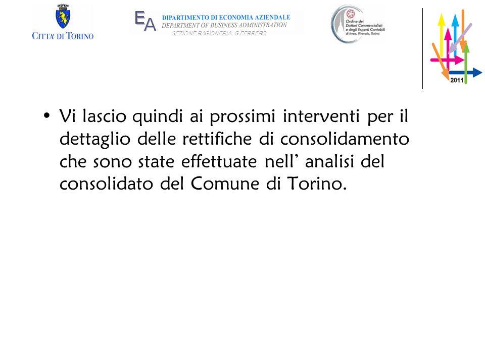 SEZIONE RAGIONERIA- G.FERRERO Vi lascio quindi ai prossimi interventi per il dettaglio delle rettifiche di consolidamento che sono state effettuate ne