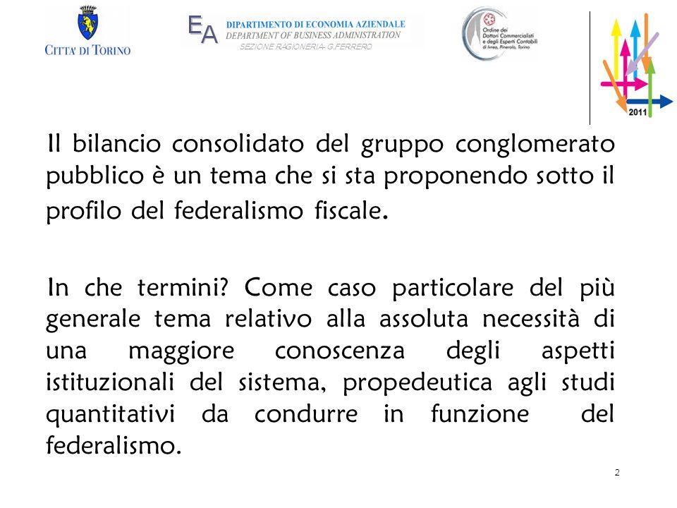 SEZIONE RAGIONERIA- G.FERRERO Il bilancio consolidato del gruppo conglomerato pubblico è un tema che si sta proponendo sotto il profilo del federalism