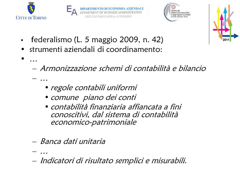 SEZIONE RAGIONERIA- G.FERRERO federalismo (L. 5 maggio 2009, n. 42) strumenti aziendali di coordinamento: … –Armonizzazione schemi di contabilità e bi