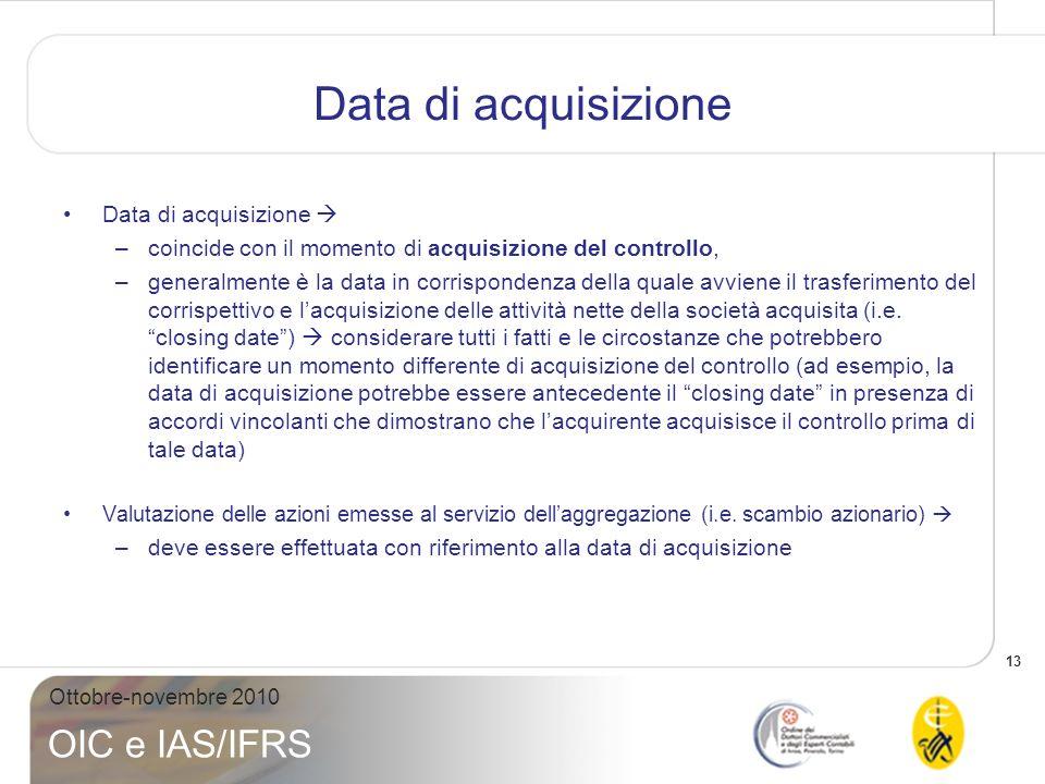 14 Ottobre-novembre 2010 OIC e IAS/IFRS Periodo di valutazione