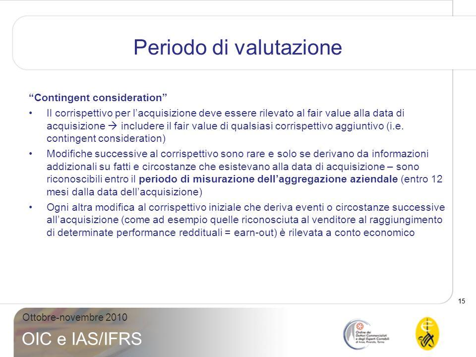 16 Ottobre-novembre 2010 OIC e IAS/IFRS Periodo di valutazione