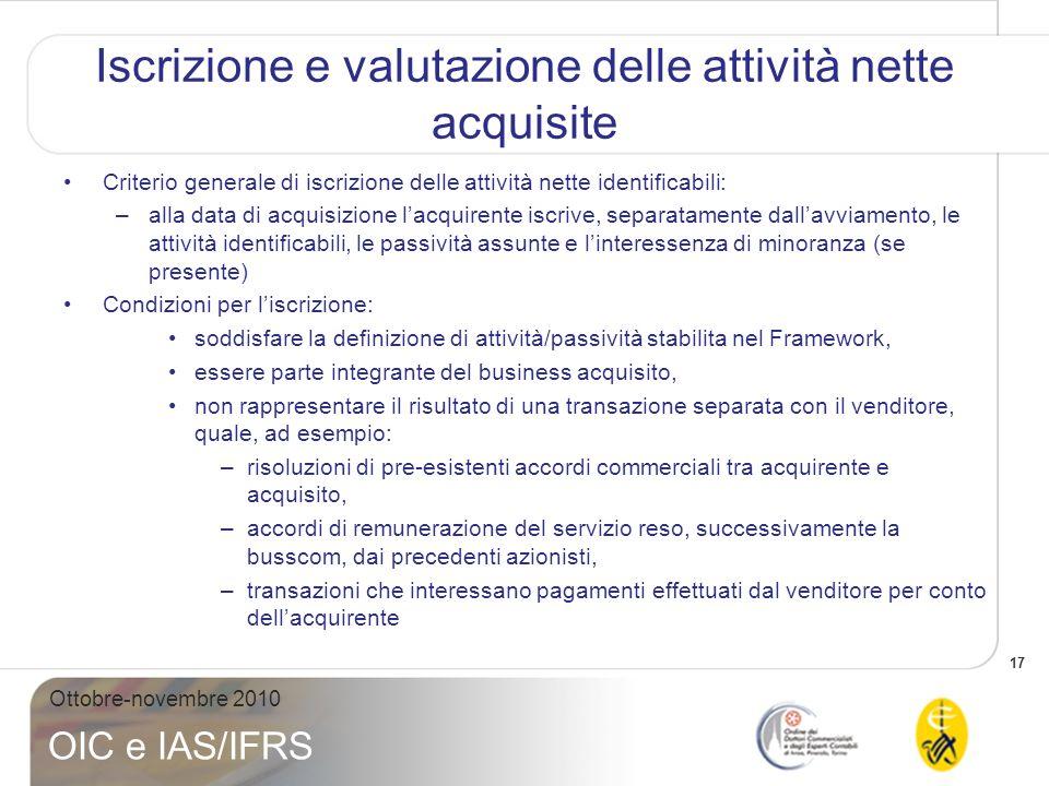 18 Ottobre-novembre 2010 OIC e IAS/IFRS Iscrizione e valutazione delle attività nette acquisite Alla data di acquisizione, le attività nette identificabili acquisite devono essere classificate o designate ex novo ai fini della valutazione successiva richiesta dagli IFRS di riferimento.