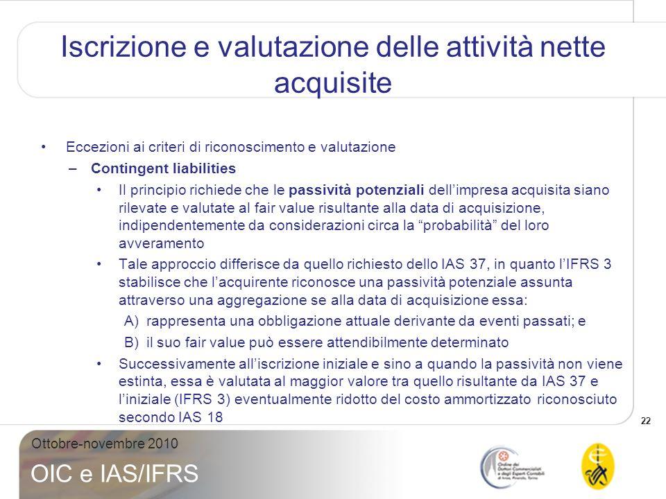 23 Ottobre-novembre 2010 OIC e IAS/IFRS Eccezioni ai criteri di riconoscimento e valutazione –Contingent liabilities (segue) implicazioni Lapplicazione dello IAS 37 agli eventi passati si focalizza sullavveramento/non-avveramento degli esborsi futuri necessari a regolare lobbligazione.