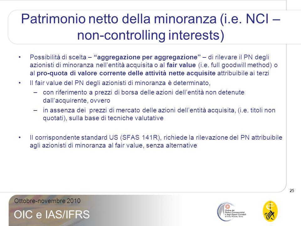 26 Ottobre-novembre 2010 OIC e IAS/IFRS Patrimonio netto della minoranza (i.e.