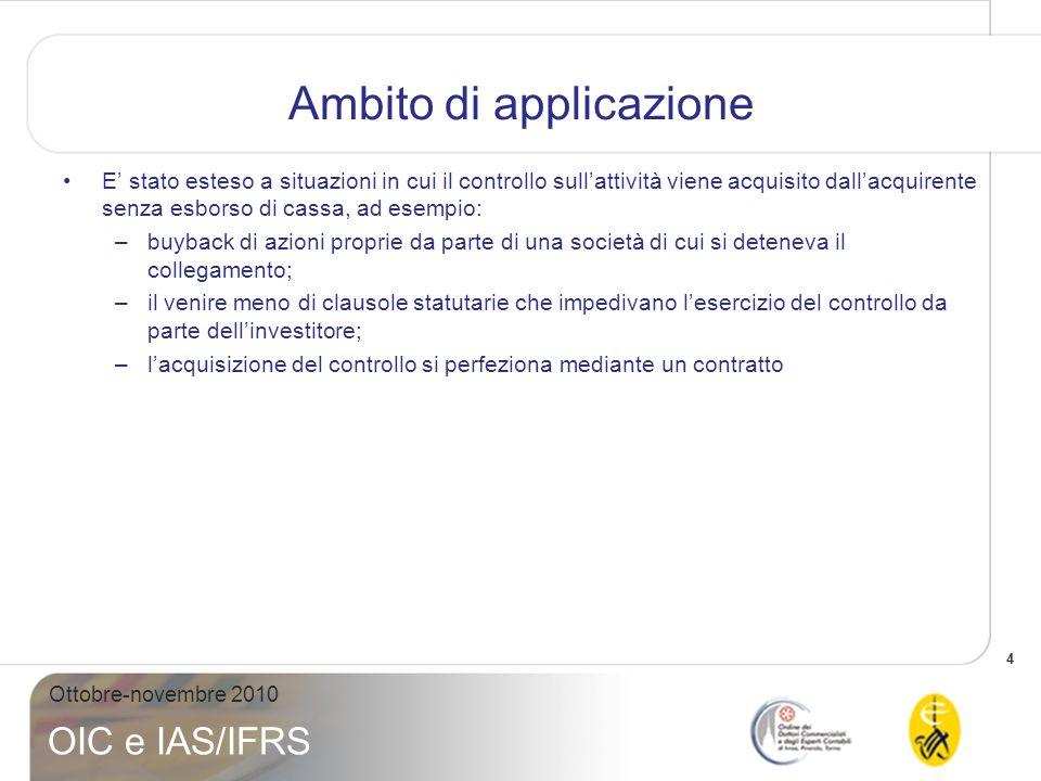 5 Ottobre-novembre 2010 OIC e IAS/IFRS Ambito di applicazione Nuovo ambito di applicazione dellIFRS 3 (r2008) IFRS 3 (old) Revised IFRS 3
