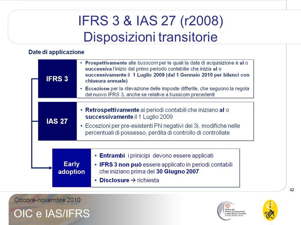 43 Ottobre-novembre 2010 OIC e IAS/IFRS IFRS 3 & IAS 27 (r2008) Disposizioni transitorie