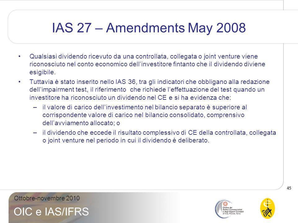 46 Ottobre-novembre 2010 OIC e IAS/IFRS