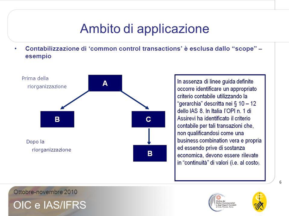 7 Ottobre-novembre 2010 OIC e IAS/IFRS Definizione di Business