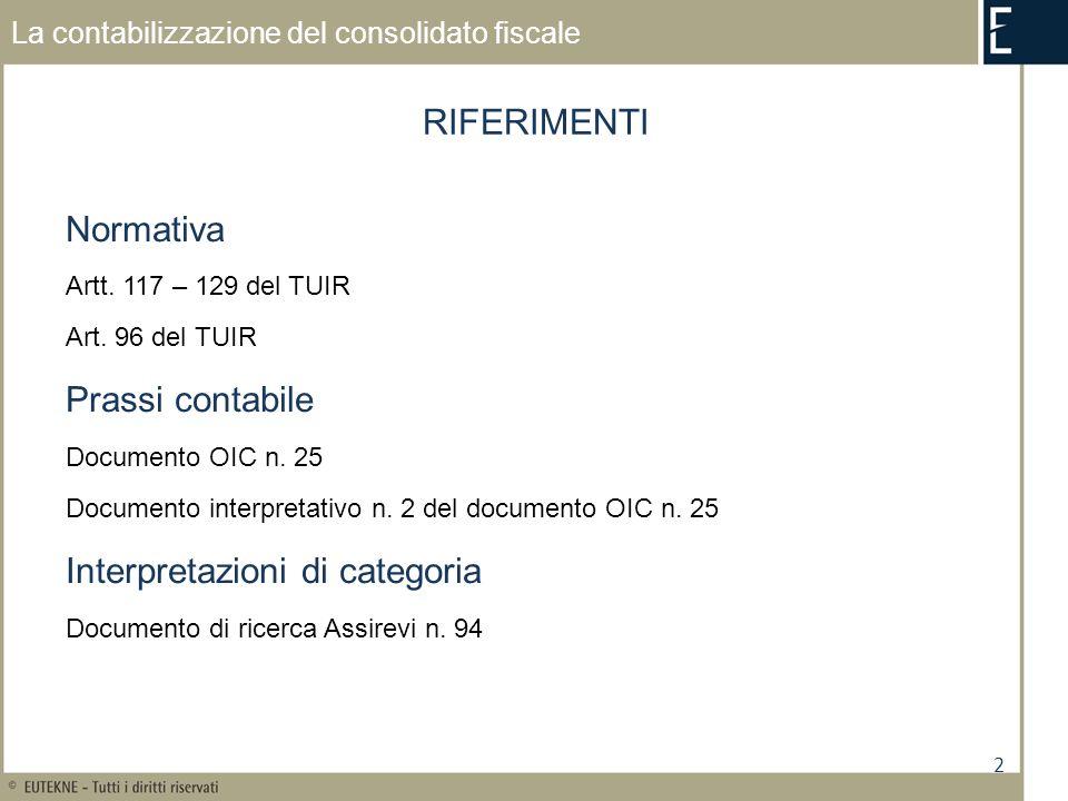 2 La contabilizzazione del consolidato fiscale Normativa Artt. 117 – 129 del TUIR Art. 96 del TUIR Prassi contabile Documento OIC n. 25 Documento inte