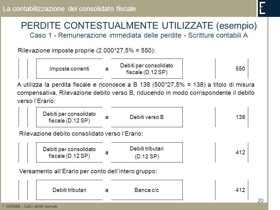 20 La contabilizzazione del consolidato fiscale PERDITE CONTESTUALMENTE UTILIZZATE (esempio) Caso 1 - Remunerazione immediata delle perdite - Scritture contabili A Rilevazione imposte proprie (2.000*27,5% = 550): Imposte correntia Debiti per consolidato fiscale (D.12 SP) 550 Debiti per consolidato fiscale (D.12 SP) aDebiti verso B138 Rilevazione debito consolidato verso lErario: A utilizza la perdita fiscale e riconosce a B 138 (500*27,5% = 138) a titolo di misura compensativa.