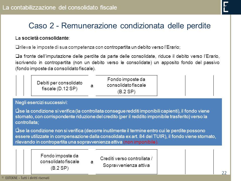 22 La contabilizzazione del consolidato fiscale Caso 2 - Remunerazione condizionata delle perdite La società consolidante: rileva le imposte di sua competenza con contropartita un debito verso lErario; a fronte dellimputazione delle perdite da parte delle consolidate, riduce il debito verso lErario, iscrivendo in contropartita (non un debito verso le consolidate) un apposito fondo del passivo (fondo imposte da consolidato fiscale).