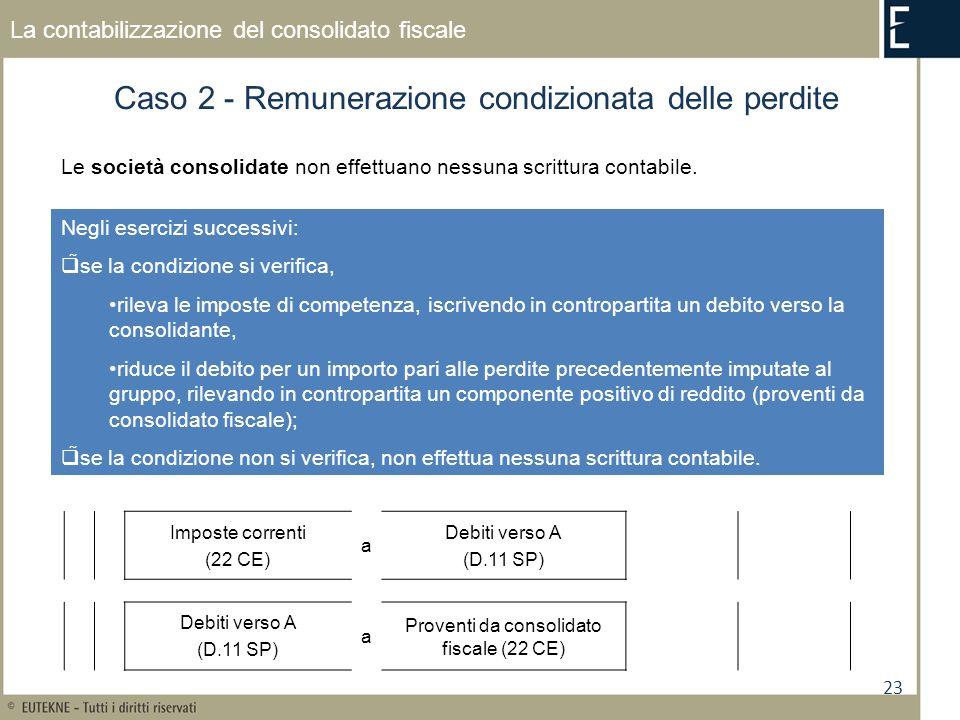 23 La contabilizzazione del consolidato fiscale Caso 2 - Remunerazione condizionata delle perdite Le società consolidate non effettuano nessuna scritt