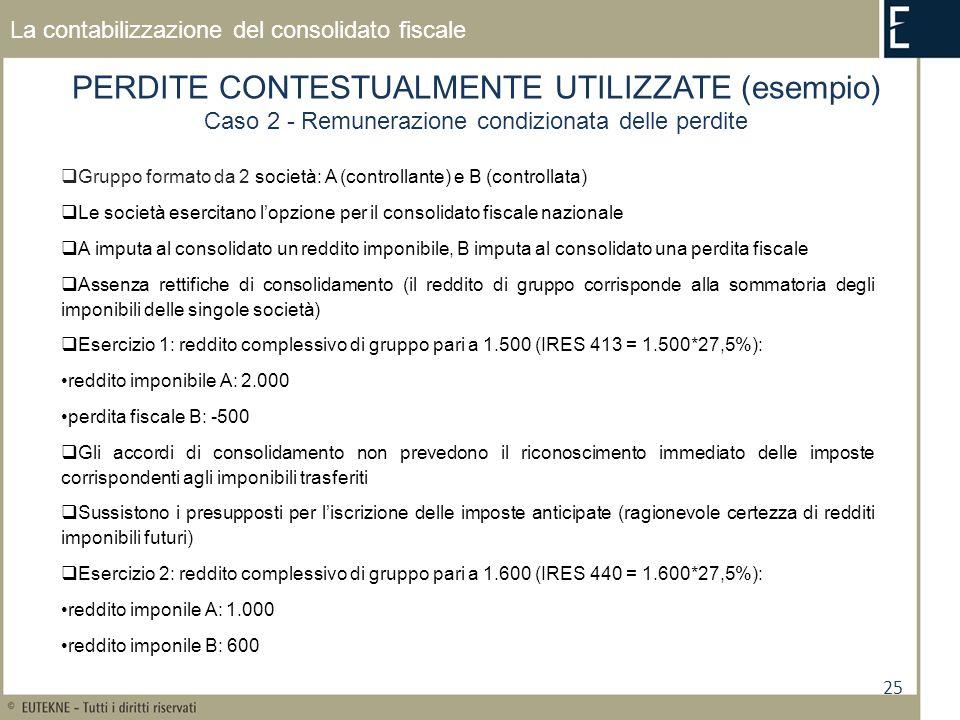 25 La contabilizzazione del consolidato fiscale PERDITE CONTESTUALMENTE UTILIZZATE (esempio) Caso 2 - Remunerazione condizionata delle perdite Gruppo