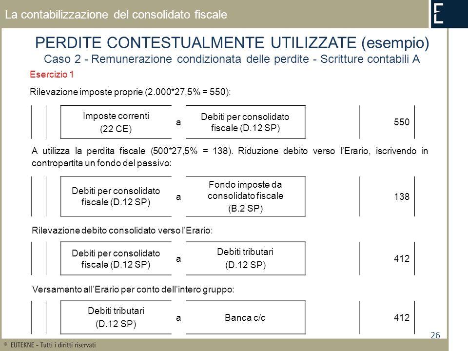 26 La contabilizzazione del consolidato fiscale PERDITE CONTESTUALMENTE UTILIZZATE (esempio) Caso 2 - Remunerazione condizionata delle perdite - Scritture contabili A Esercizio 1 Rilevazione imposte proprie (2.000*27,5% = 550): Imposte correnti (22 CE) a Debiti per consolidato fiscale (D.12 SP) 550 Debiti per consolidato fiscale (D.12 SP) a Fondo imposte da consolidato fiscale (B.2 SP) 138 Rilevazione debito consolidato verso lErario: A utilizza la perdita fiscale (500*27,5% = 138).