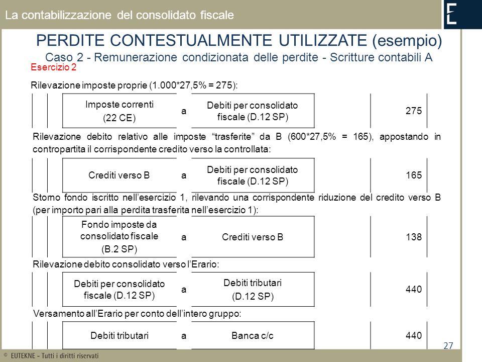 27 La contabilizzazione del consolidato fiscale PERDITE CONTESTUALMENTE UTILIZZATE (esempio) Caso 2 - Remunerazione condizionata delle perdite - Scrit