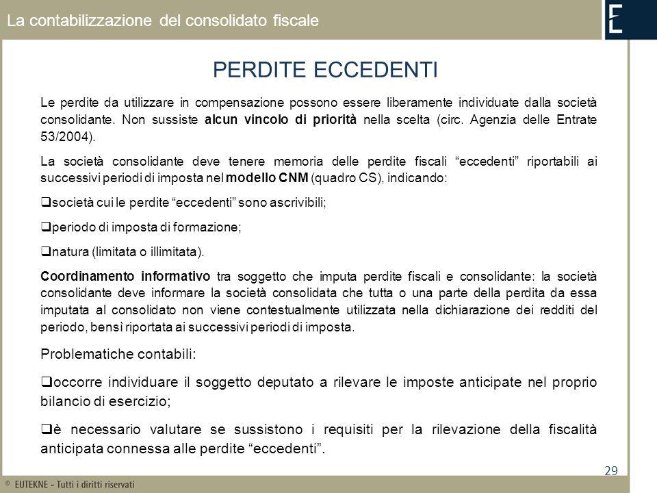 29 La contabilizzazione del consolidato fiscale PERDITE ECCEDENTI Le perdite da utilizzare in compensazione possono essere liberamente individuate dalla società consolidante.