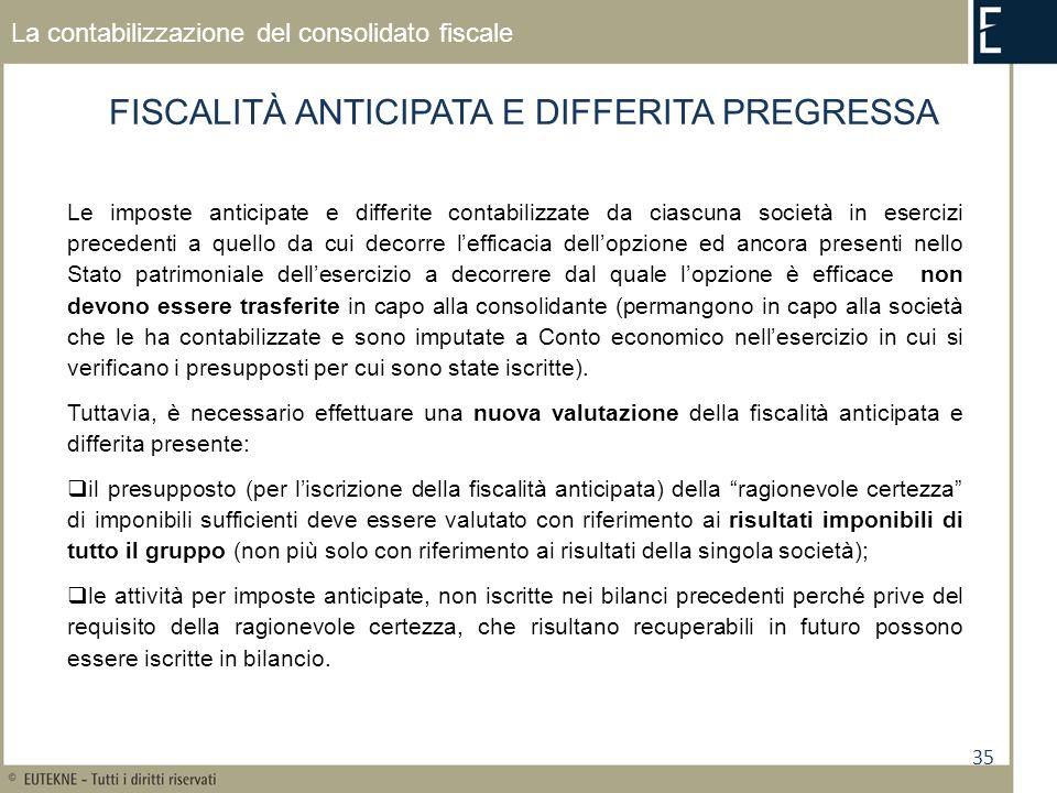 35 La contabilizzazione del consolidato fiscale FISCALITÀ ANTICIPATA E DIFFERITA PREGRESSA Le imposte anticipate e differite contabilizzate da ciascun