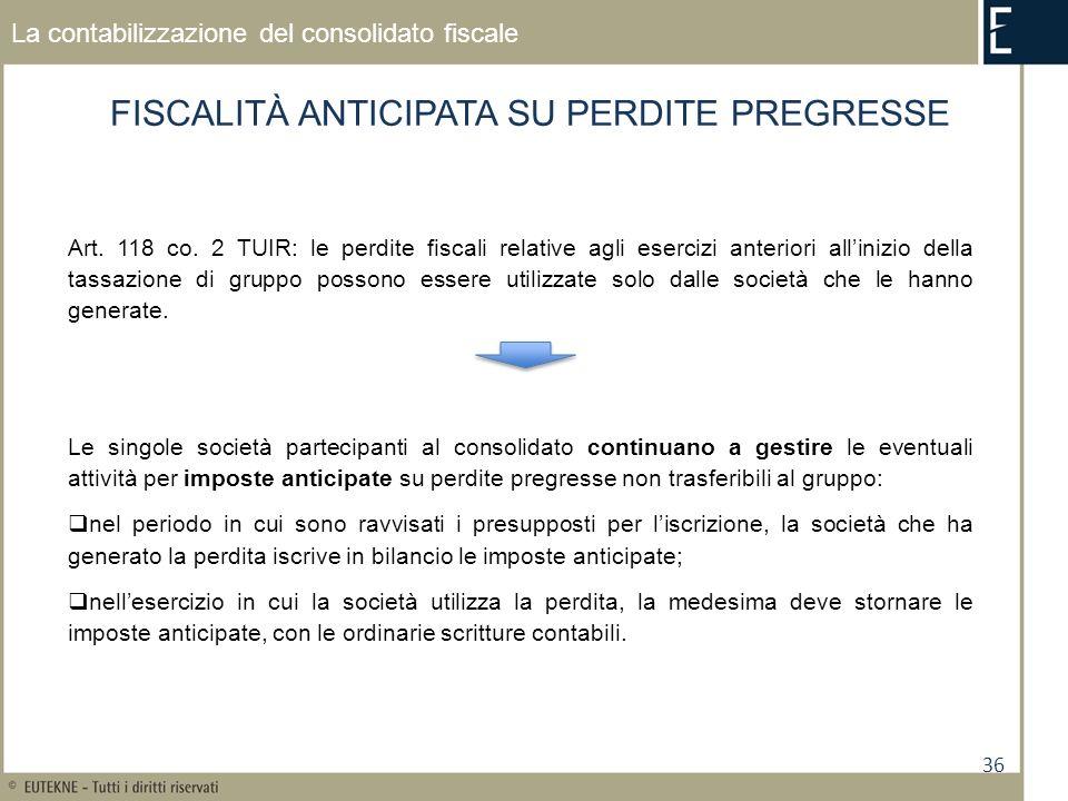 36 La contabilizzazione del consolidato fiscale FISCALITÀ ANTICIPATA SU PERDITE PREGRESSE Art.