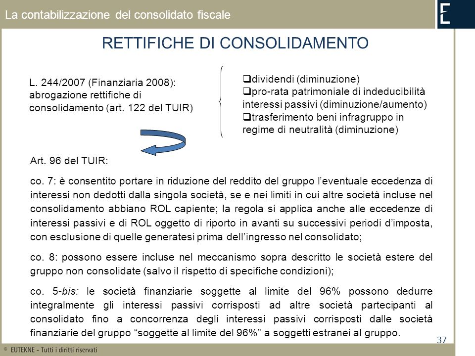 37 La contabilizzazione del consolidato fiscale RETTIFICHE DI CONSOLIDAMENTO Art. 96 del TUIR: co. 7: è consentito portare in riduzione del reddito de