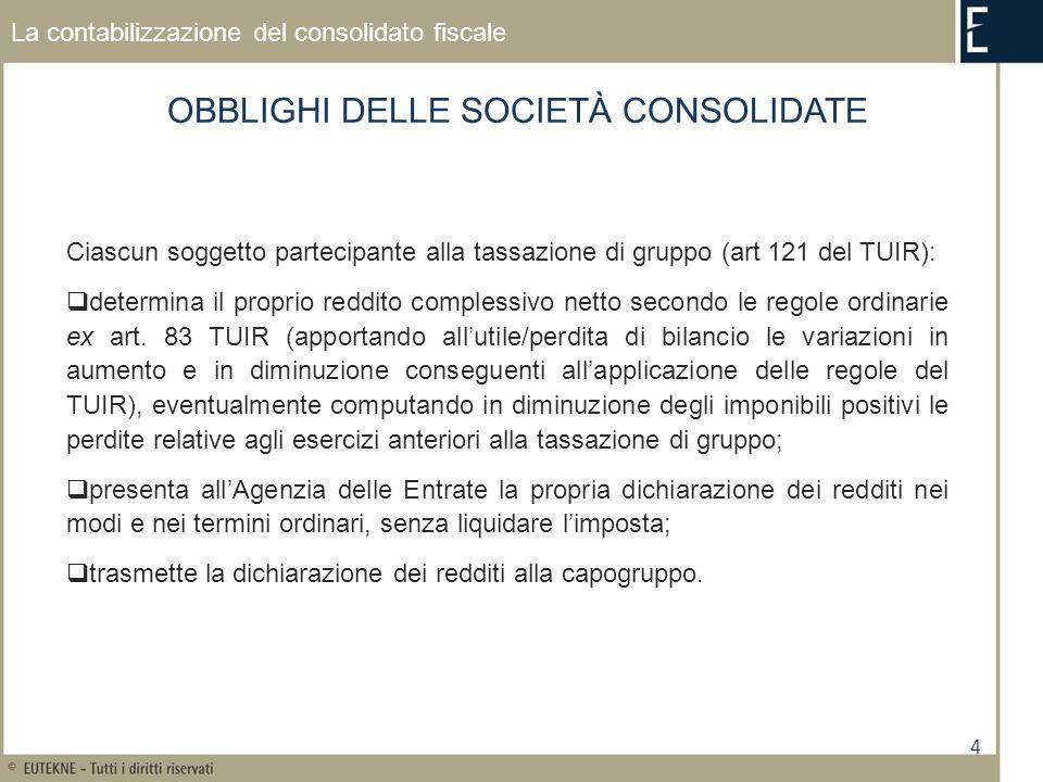 4 La contabilizzazione del consolidato fiscale OBBLIGHI DELLE SOCIETÀ CONSOLIDATE Ciascun soggetto partecipante alla tassazione di gruppo (art 121 del