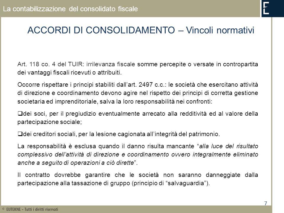 7 La contabilizzazione del consolidato fiscale ACCORDI DI CONSOLIDAMENTO – Vincoli normativi Art. 118 co. 4 del TUIR: irrilevanza fiscale somme percep