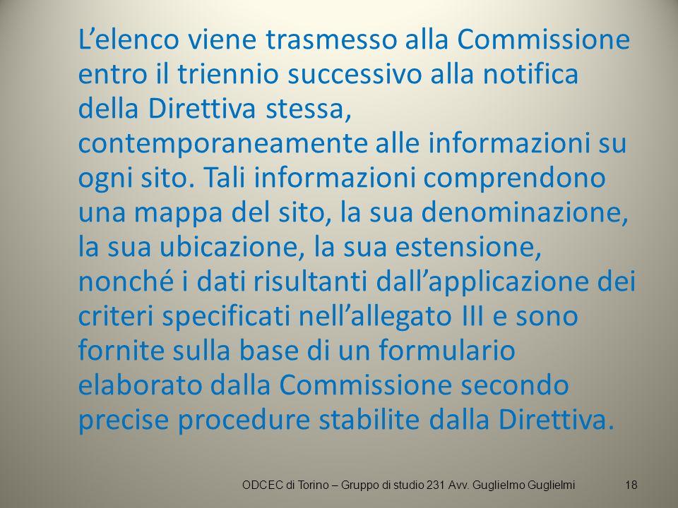 Lelenco viene trasmesso alla Commissione entro il triennio successivo alla notifica della Direttiva stessa, contemporaneamente alle informazioni su og