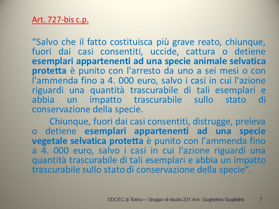 Art. 727-bis c.p. Salvo che il fatto costituisca più grave reato, chiunque, fuori dai casi consentiti, uccide, cattura o detiene esemplari appartenent