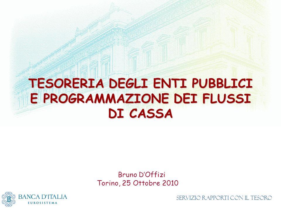 TESORERIA DEGLI ENTI PUBBLICI E PROGRAMMAZIONE DEI FLUSSI DI CASSA Bruno DOffizi Torino, 25 Ottobre 2010 Servizio Rapporti con il Tesoro
