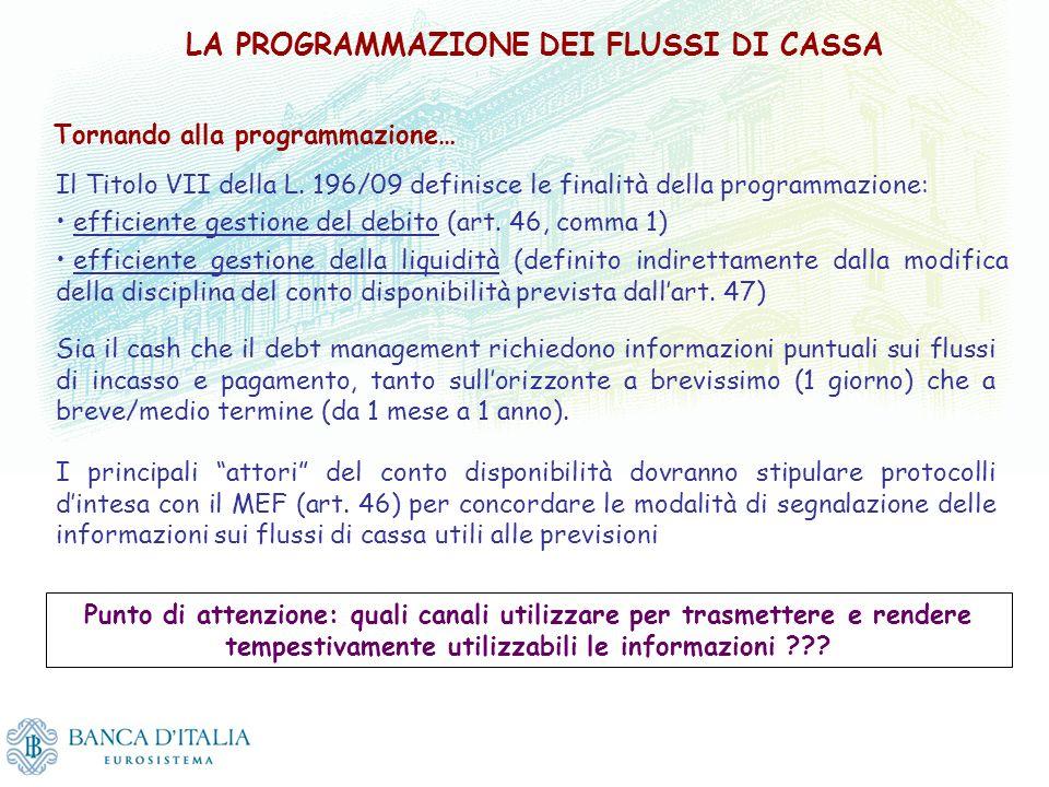 LA PROGRAMMAZIONE DEI FLUSSI DI CASSA Il Titolo VII della L. 196/09 definisce le finalità della programmazione: efficiente gestione del debito (art. 4