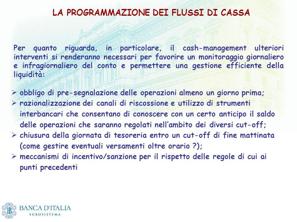 LA PROGRAMMAZIONE DEI FLUSSI DI CASSA obbligo di pre-segnalazione delle operazioni almeno un giorno prima; razionalizzazione dei canali di riscossione