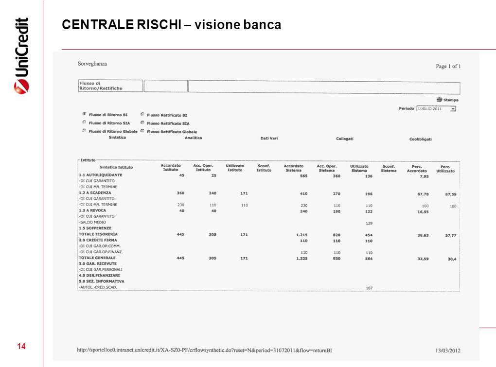 CENTRALE RISCHI – visione banca 14