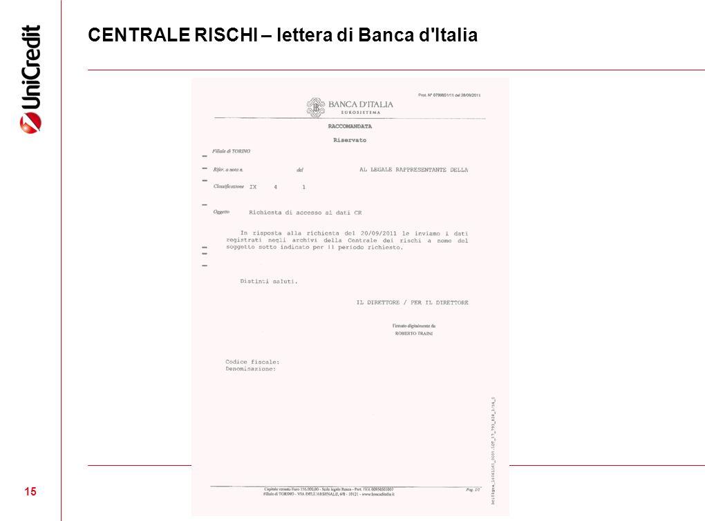 CENTRALE RISCHI – lettera di Banca d Italia 15