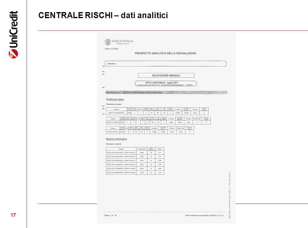 CENTRALE RISCHI – dati analitici 17