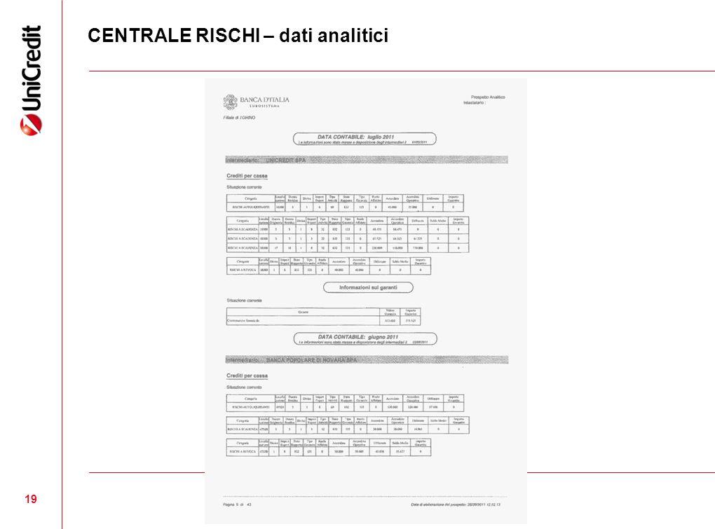 CENTRALE RISCHI – dati analitici 19