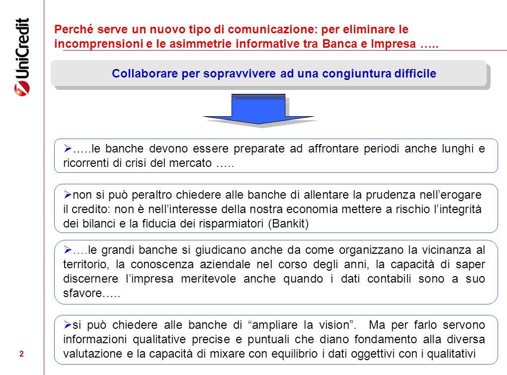 2 Perché serve un nuovo tipo di comunicazione: per eliminare le incomprensioni e le asimmetrie informative tra Banca e Impresa …..