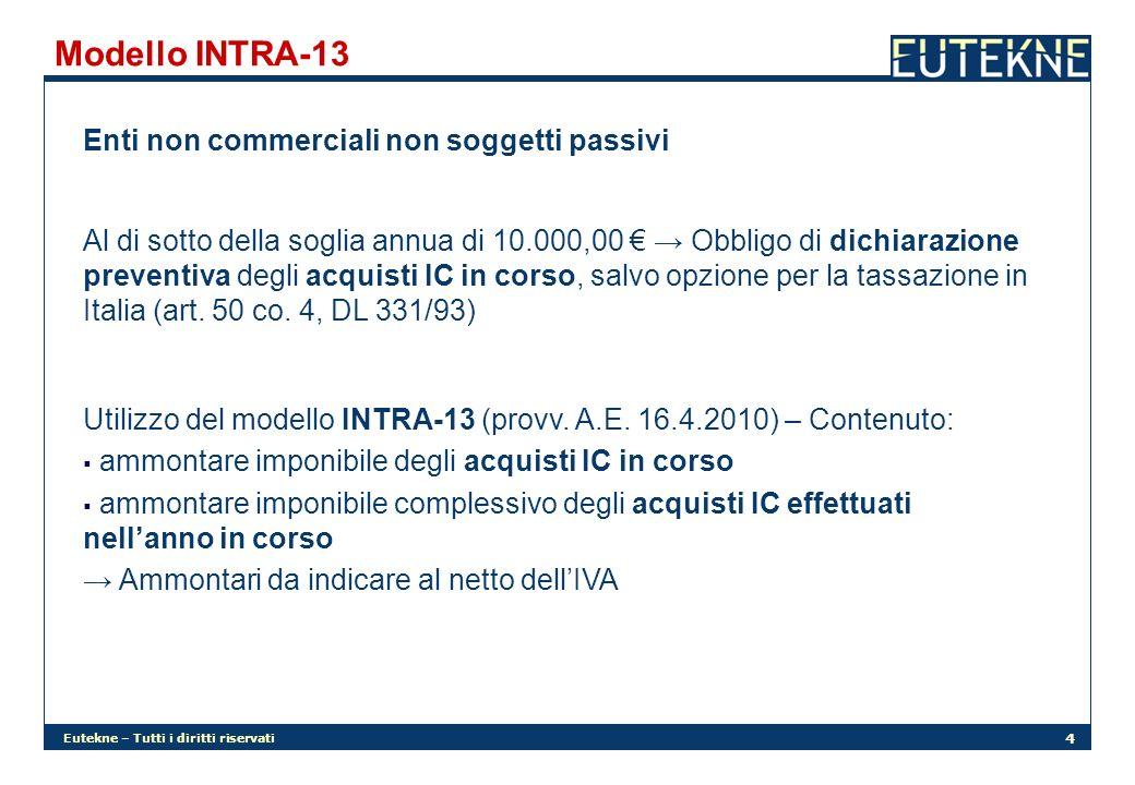 Eutekne – Tutti i diritti riservati 4 Modello INTRA-13 Enti non commerciali non soggetti passivi Al di sotto della soglia annua di 10.000,00 Obbligo d