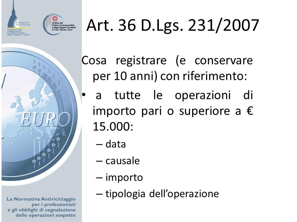 Art. 36 D.Lgs. 231/2007 Cosa registrare (e conservare per 10 anni) con riferimento: a tutte le operazioni di importo pari o superiore a 15.000: – data